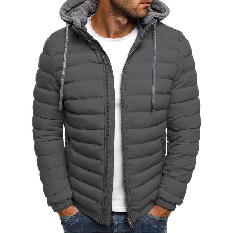 ZOGAA Erkekler Kış Parkas Ceket Moda Katı Kapüşonlu Ceket Ceketler Fermuar Pamuk Rahat Sıcak Giysiler Palto Streetwear Parka Erkekler