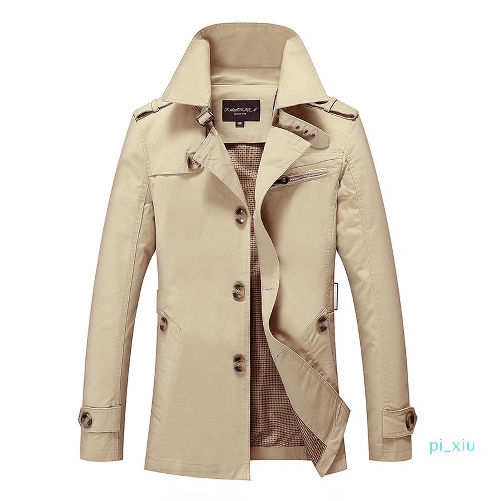 New Herren Trenchcoat Modedesigner Mann Medium-Long-Frühlings-Herbst britischen Art-dünne Jacke Windjacke Male Plus Größe M-5XL XM01