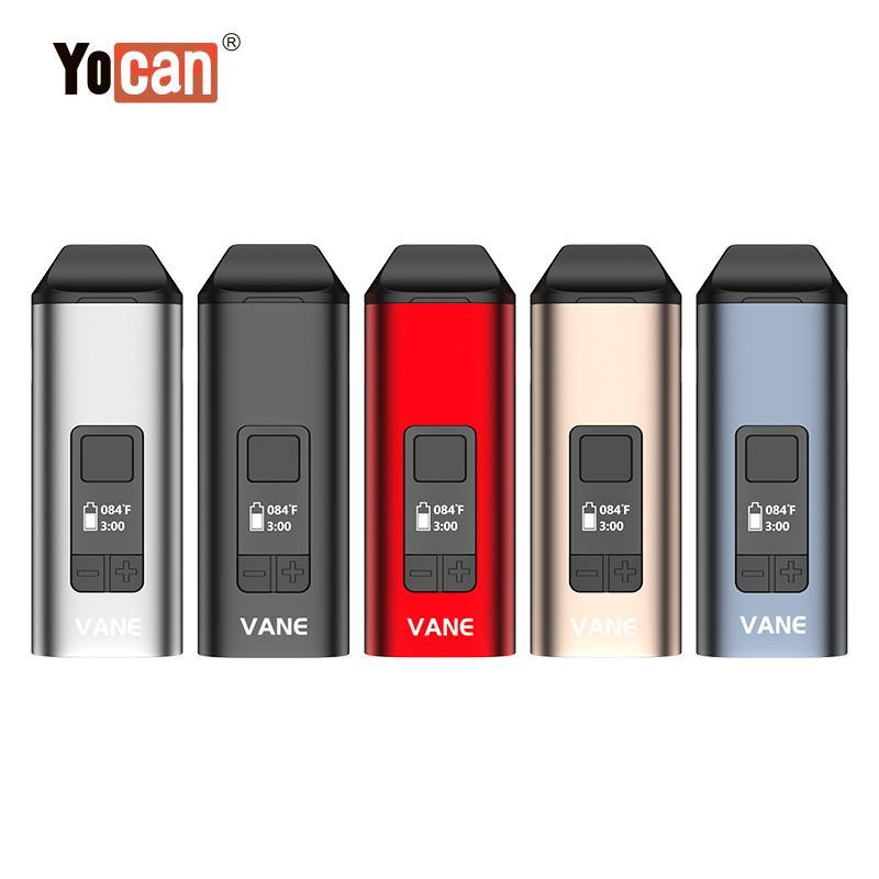 New Original Dry Herb Vaporizer Yocan Vane vape pen herbal 1100mah Ceramic Heating Chamber with OLED display Screen DHL free