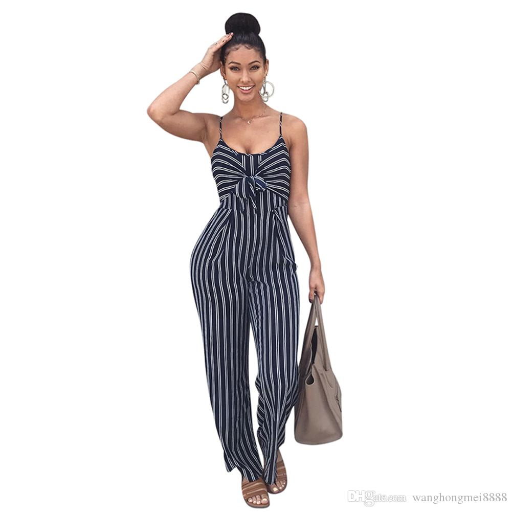Summer New Blue Bodycon Backless Stripe Monos Mujeres Sexy Party Clubwear Monos Casual Bowtie Overol Jumpsuit Tallas grandes