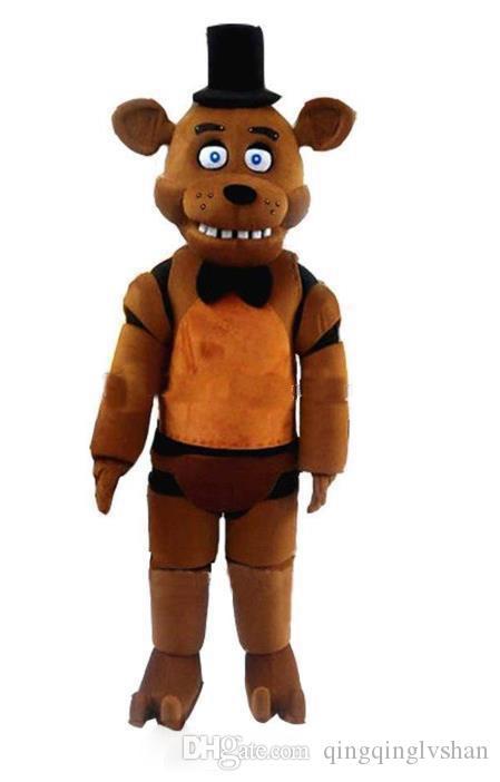 Freddy'nin FNAF Freddy Fazbear Maskot Kostüm Karikatür Maskot Custom'deki 2020 İndirim fabrika satış Beş Gece