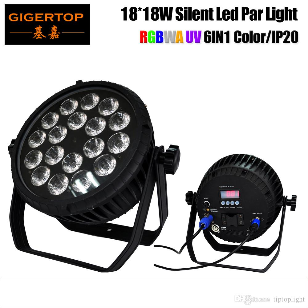 TIPTOP RGBWAU No Waterproof 18x18W Flat Led Par Light IP20 Waterproof Rate Power/DMX In and Out Socket 4 Button Display