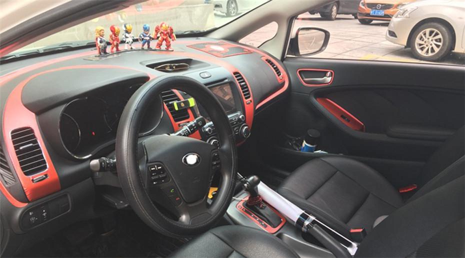 Per Kia K3 2012-2018 Porte Interne centrale Pannello di controllo Maniglia 3D / 5DCarbon fibra decalcomanie degli autoadesivi Car Styling Accessorie