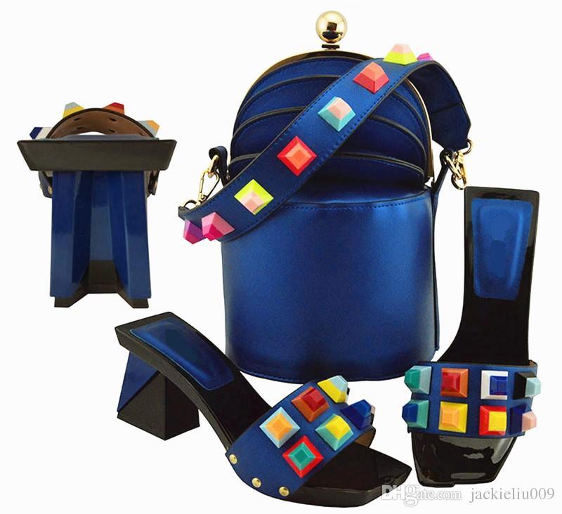 Moda kraliyet mavi kadınlar pompalar ve büyük kristal dekorasyon ile çanta set afrika ayakkabı maç çanta MD011
