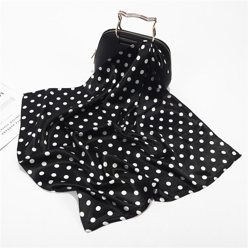 60x60cm Preto Branco Pequenas Praça Polka Dot Neck Collar Cachecol Foulard Femme Bolsa decoração Silk Stain Cabeça Cachecóis para senhoras
