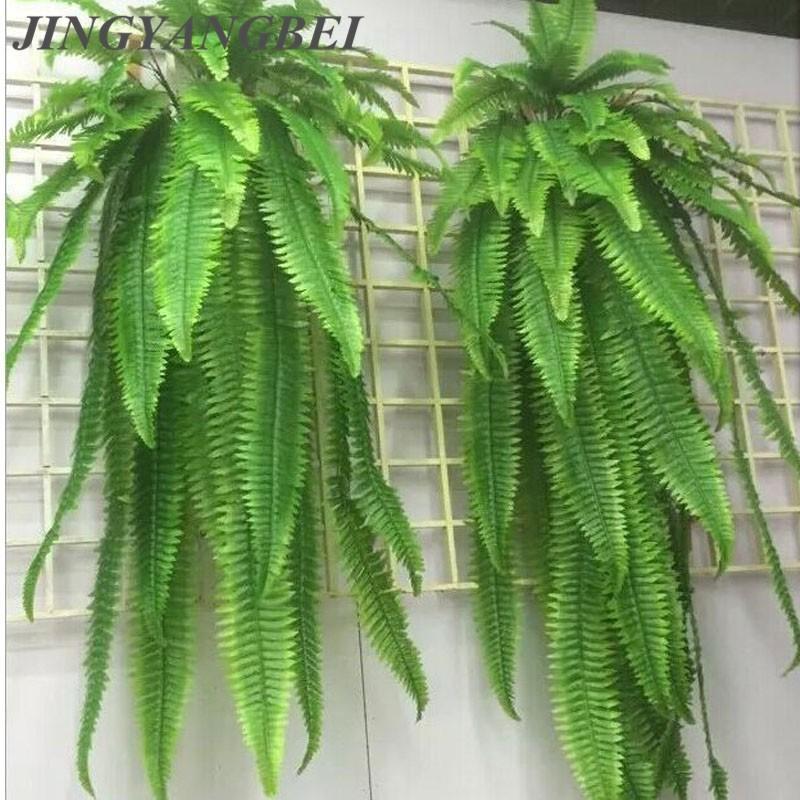40 90 110 cm Simulazione ornamento erba verde pianta in vaso piante appese fila erba felce foglia foglie persiane decorazione piantata a parete