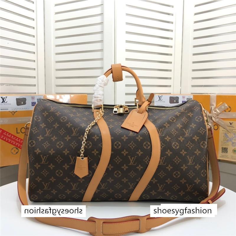 2020 tasarımcı Erkekler kanvas çanta spor çanta 44748 İçin Travel'ın Keepall 50 marka gerçek deri crossbody lüks totels