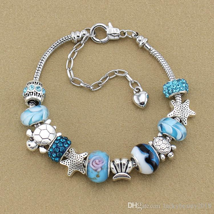 Mavi Sihirli Boncuk Bilezik 925 Gümüş Pandora Bilezik Denizyıldızı Kaplumbağa Bilezik Sihirli Boncuk Pandora Altın Boncuk DIY Takı Hediye Olarak