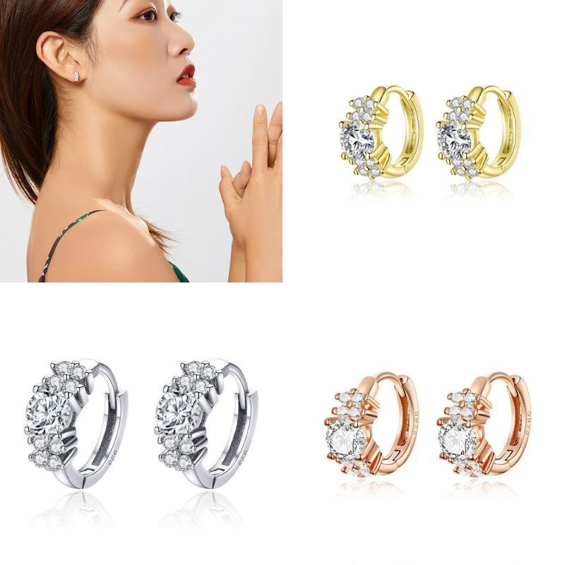 Petit CZ Déclaration de mariage clair Boucles d'oreilles Hoop pour les femmes 925 couleur or rose en argent sterling de luxe Bijoux -C