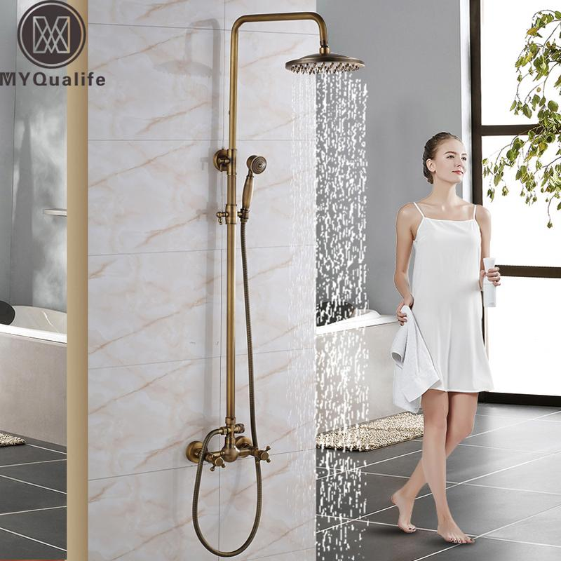 "Wall Mounted 8"" Shower Head Shower Rainfall Faucet Set with Handheld Antique Brass Finish In-wall Shower Mixer Taps"
