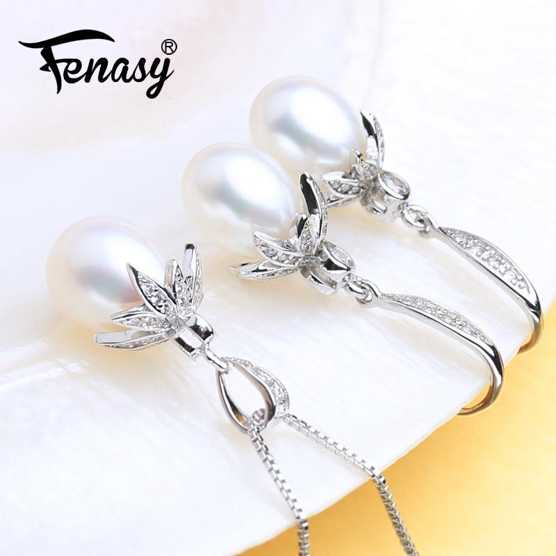 FENASY Natural de água doce Pérola Jóias Define 925 colar de prata para as mulheres do casamento conjuntos de jóias com a Gota Brincos