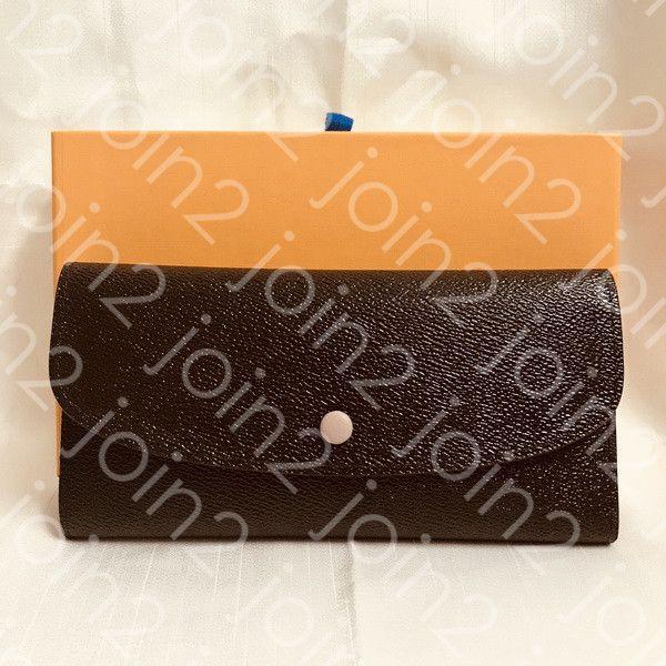 Emilie Wallet Fashion Womens Button Long Wallet Tarjeta Bolsa Redondo Monedero Monedero Zippy Brown Lienzo impermeable, Bolsa de polvo de alta calidad M60697