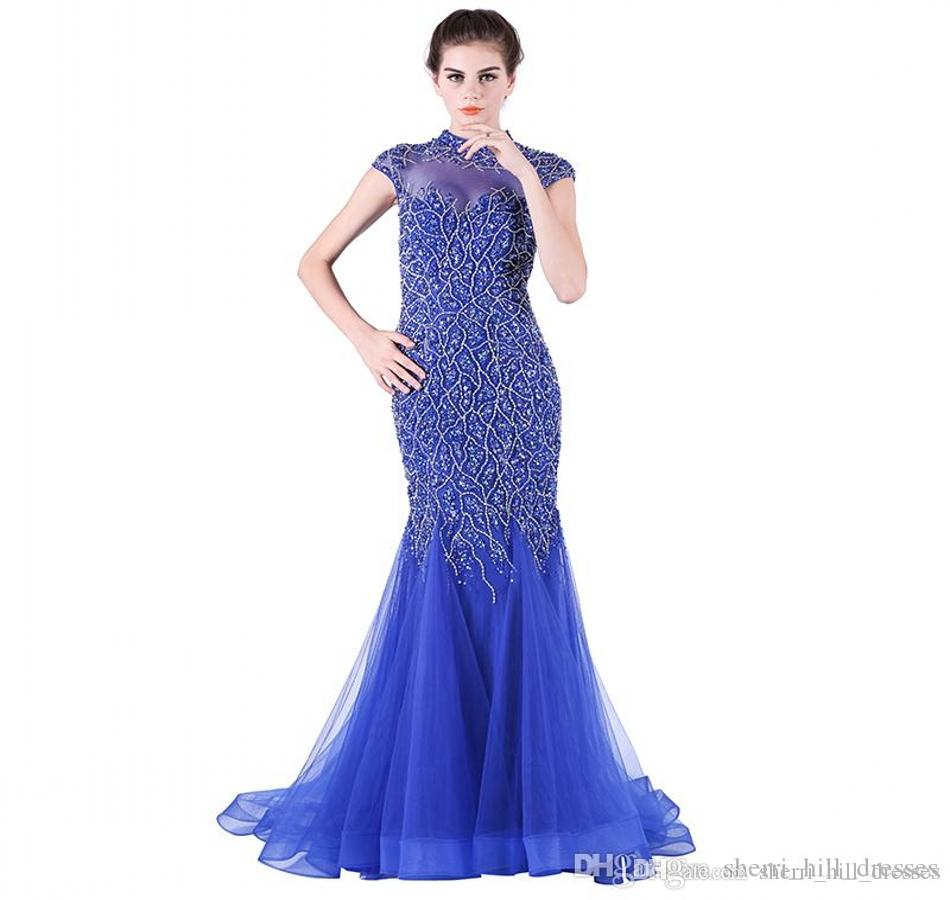 New Fashion Mermaid Evening Dresses Blue Tail - Heavy Manual Nail Bead Long Dance Party Prom Dresses DH081