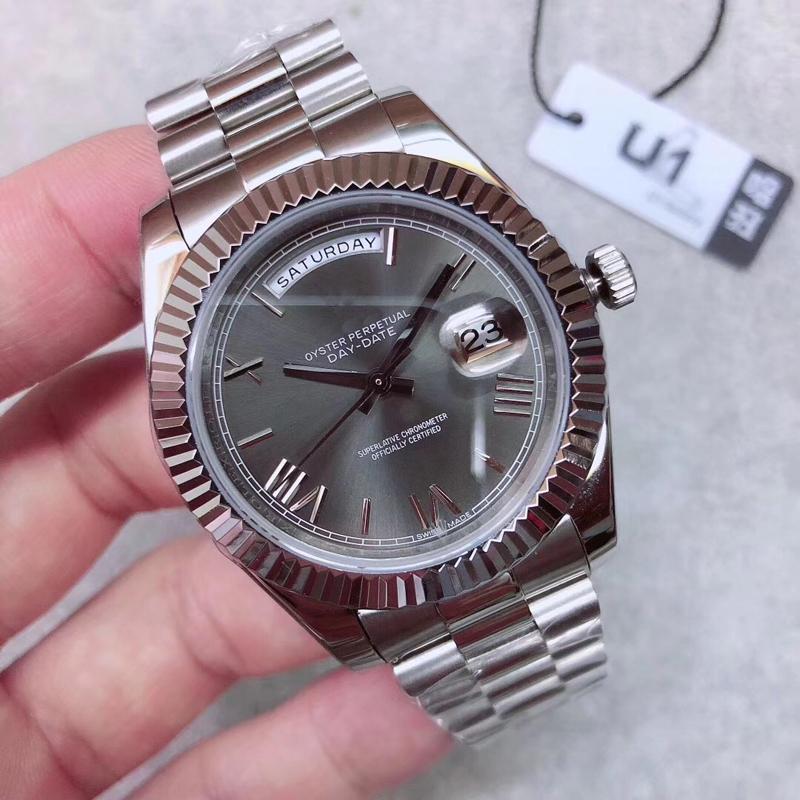 U1 공장 DAY 날짜 회색 로마 숫자 얼굴 큰 날짜 자동 기계 시계 남성 사파이어 유리 스테인레스 스틸 고급 남성 시계