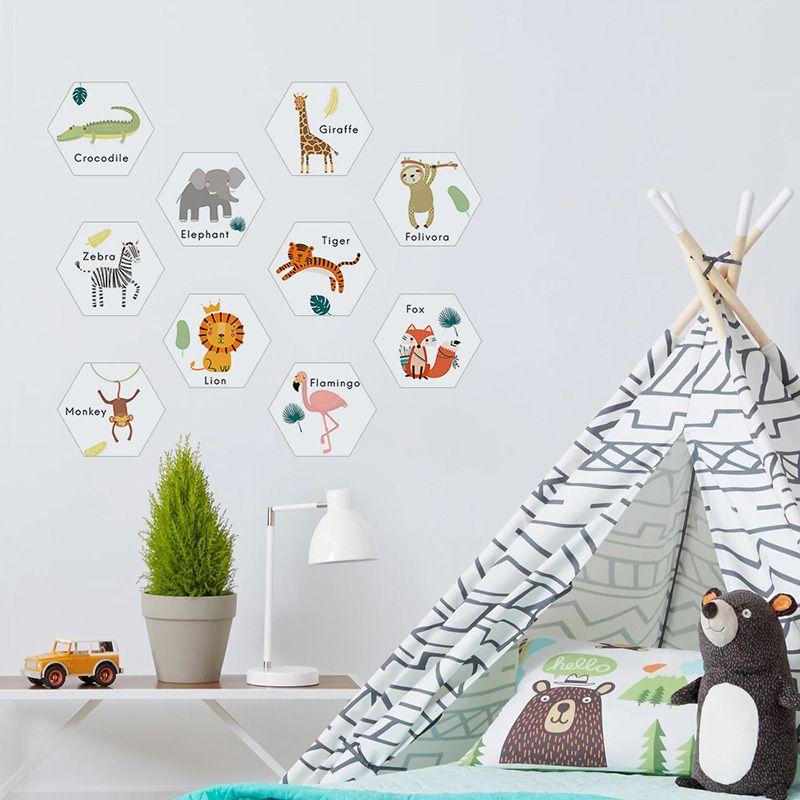 10PCS/Set Hexagon Cartoon Animals PVC Mat Wall Stickers Home Decor Kids Room Nursery Floor Decoration Wall Decals Self-adhesive Ground Mural