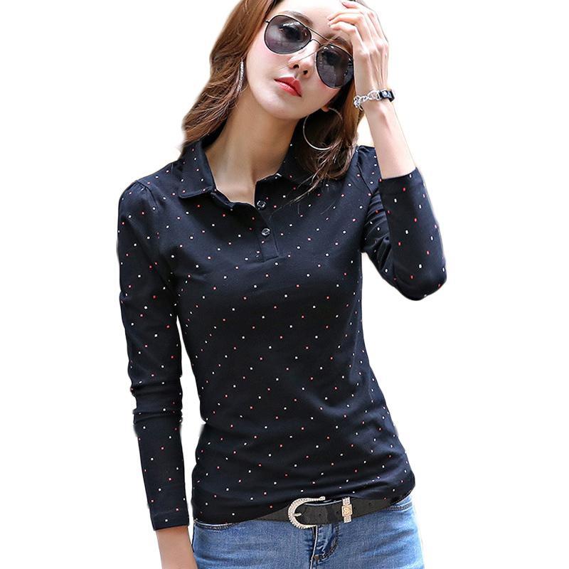 2019 봄 가을 패션 폴로 셔츠 여성 긴 소매 슬림 폴로 Mujer 편안한 톱 여성의 셔츠 레이디 폴로 셔츠 팜므 LY191217