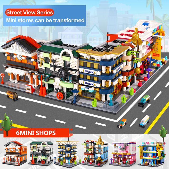 Panlos Toy Via Serie Stazione Auto Garage City Bank Hotel Music istituti di istruzione deposito di giocattoli Set regalo dei giocattoli Kid
