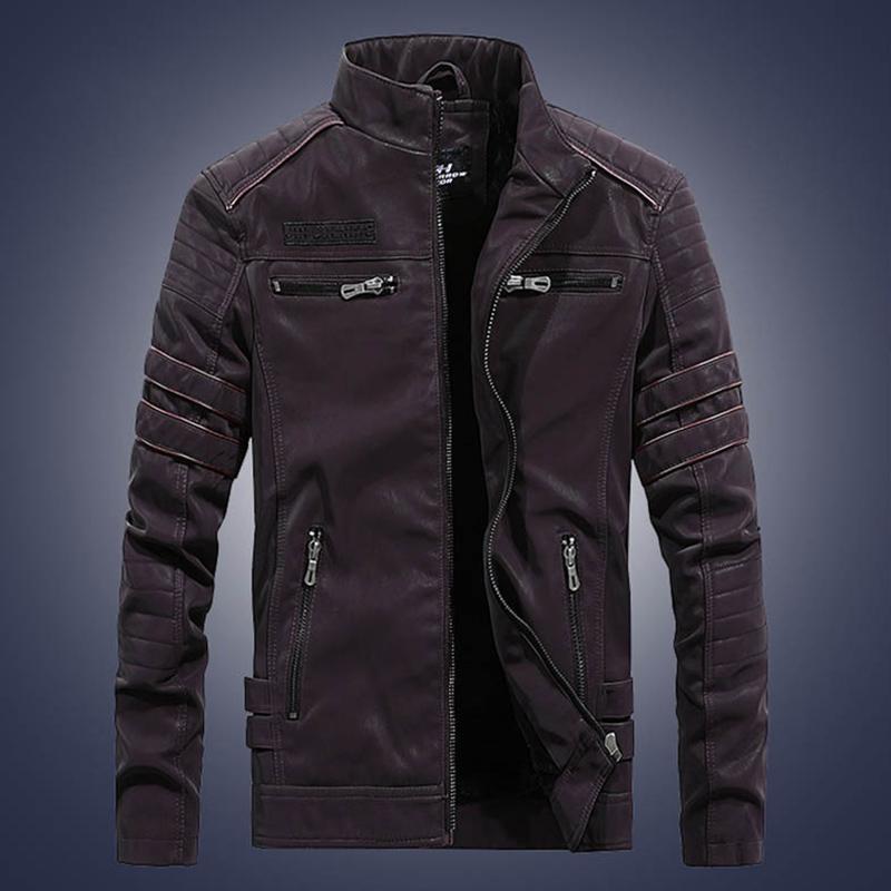 Мужские куртки Мужчины Верхняя одежда PU кожаное пальто на молнии кармана с длинным рукавом теплая для зимой eig88