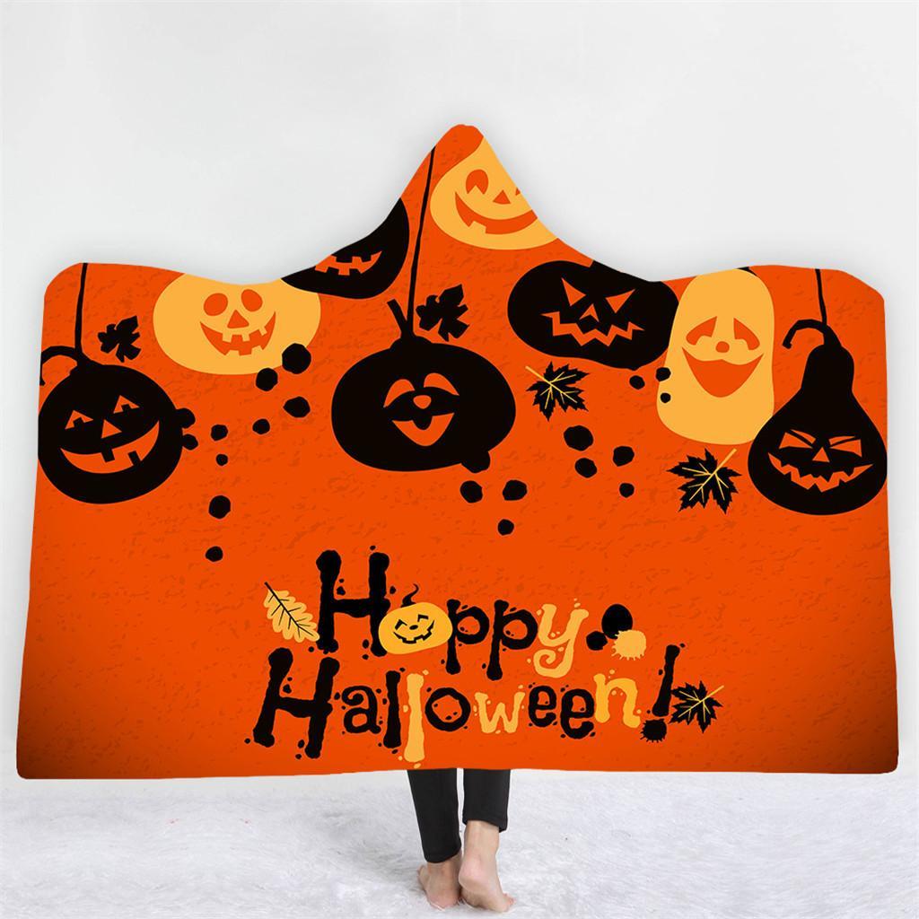 Halloween Coperta con cappuccio con stampa digitale Coperta con cappuccio Mantello spesso a doppio strato sopportabile Lenzuola in microfibra Lazy