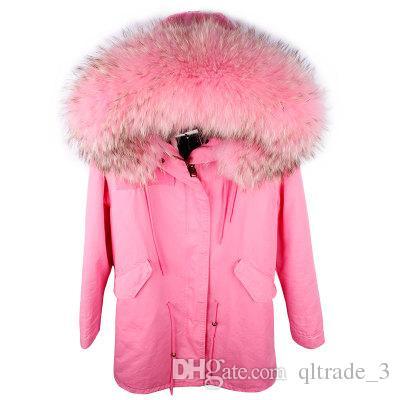 Heißer Verkauf Maomaokong Marke Rosa Kaninchenfell gefüttert Rosa Leinwand langen Parka mit rosa Waschbären Pelzbesatz Hoody Frauen Daunenjacke