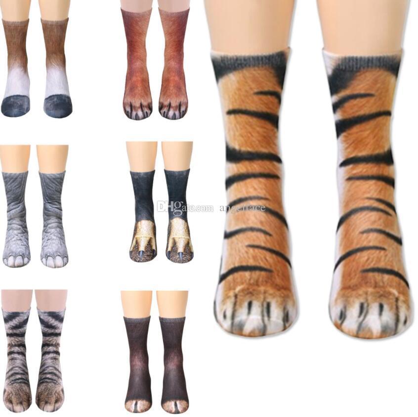 Women Funny 3D Novelty Animal Paw Feet Print Socks Elastic Crew Slipper Socking