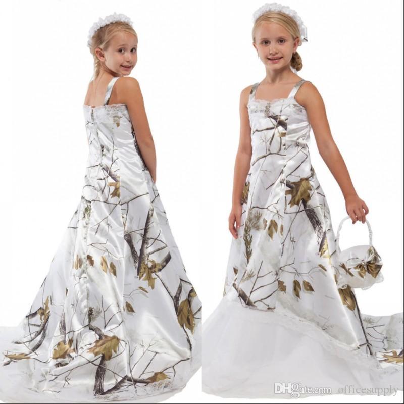 Белый Camo шнурка девушки цветка для венчания пользовательских онлайн малышей Детские вечерние платья Камуфляж сатин Дети Birthday Party