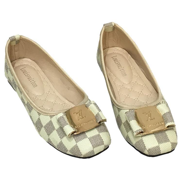 Plus Size 35-42 Frauen Reise-Prom Wohnungen Designer Metallschnalle Slip-On Ballerinas Frauen-echtes Leder-Kleid-Schuhe Q-5