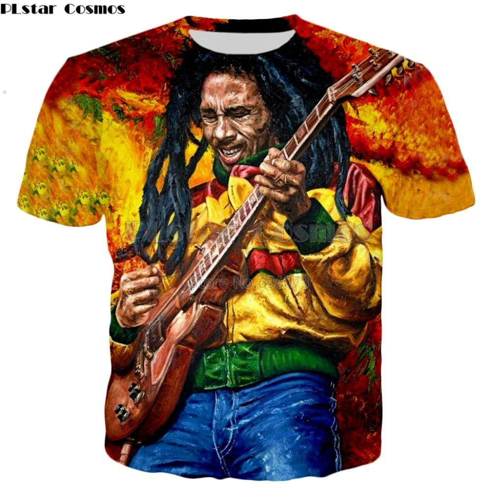 PLstar Cosmos envío Reggae Camiseta de HIP HOP personajes de Bob Marley gota impresión 3d estilo de verano camiseta de los hombres / de las mujeres camiseta ocasional Y200104