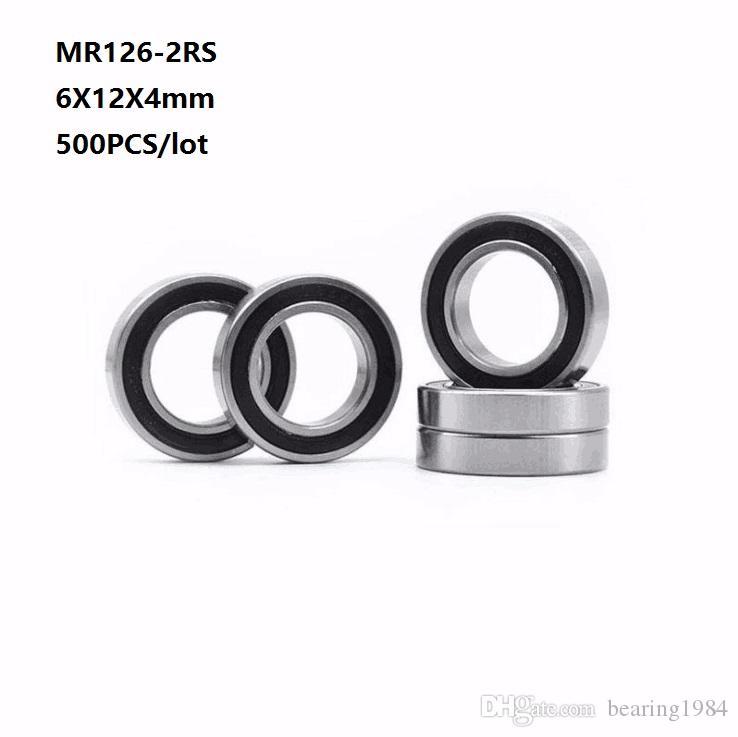 500 개 / 몫 무료 배송 MR126RS MR126-2RS MR126 RS 2RS 6x12x4 미리 메터 깊은 홈 볼 베어링 미니 6 * 12 * 4 미리 메터