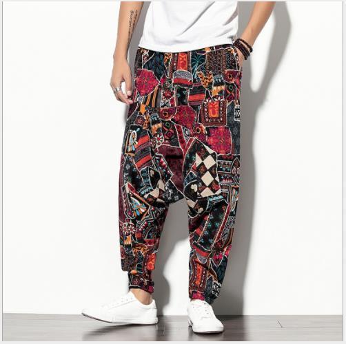 Stampato Mens Designer pantaloni di Hip Hop Street Style casuale allentato di grande misura traversa-pantaloni Pantaloni Adolescente Moda Uomo