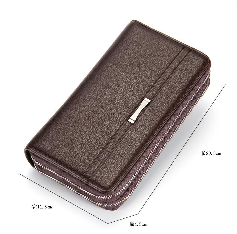 남성 더블 지퍼 긴 지갑 핸드백 지갑에 대한 Designer- 클러치 가방 남성 지갑 블랙 브라운 럭셔리 대용량 선물