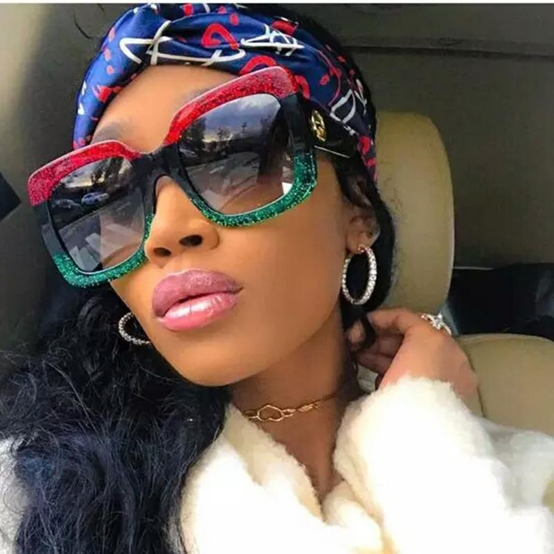 Luxo-alta qualidade Quadrado óculos de sol Oversized Quadrado Óculos De Sol Das Mulheres Retro Marca Designer Big Frame Óculos De Sol Feminino Lunettes de Sol