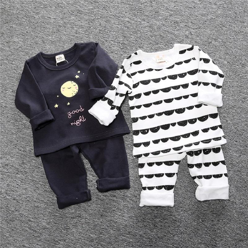 Kinder Tal New Herbst-Winter-Kind-Mädchen-Pyjama Sets Pyjamas Junge Nachtwäsche Startseite Bekleidung Printed Cotton Baby-Nachtwäsche BCC003