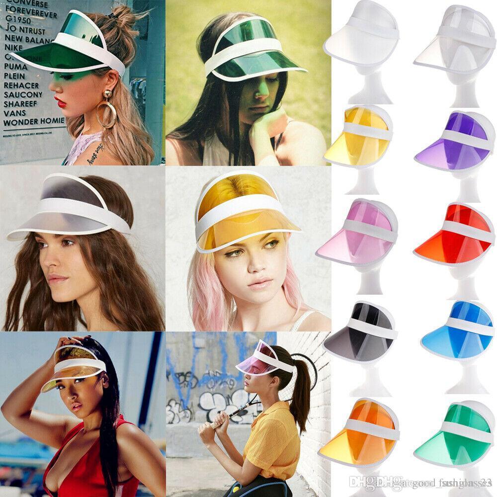 Sun visor sunvisor party hat clear plastic cap transparent pvc sun hats sunscreen hat Tennis Beach elastic hats YD0103