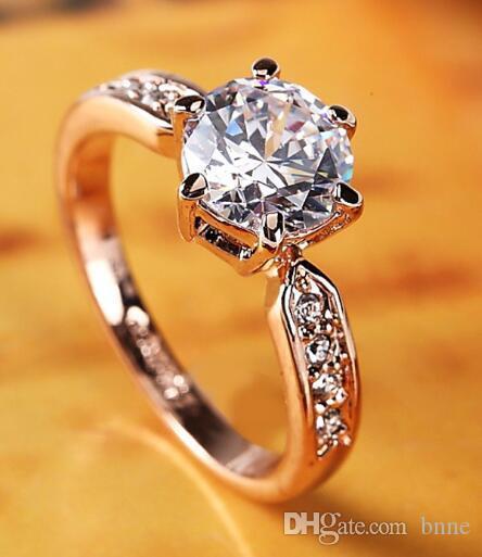 New atacado na moda Cristal Engagement Design Anéis Hot Sale para as mulheres brancas zircão cúbicos anéis elegantes jóias femininas casamento