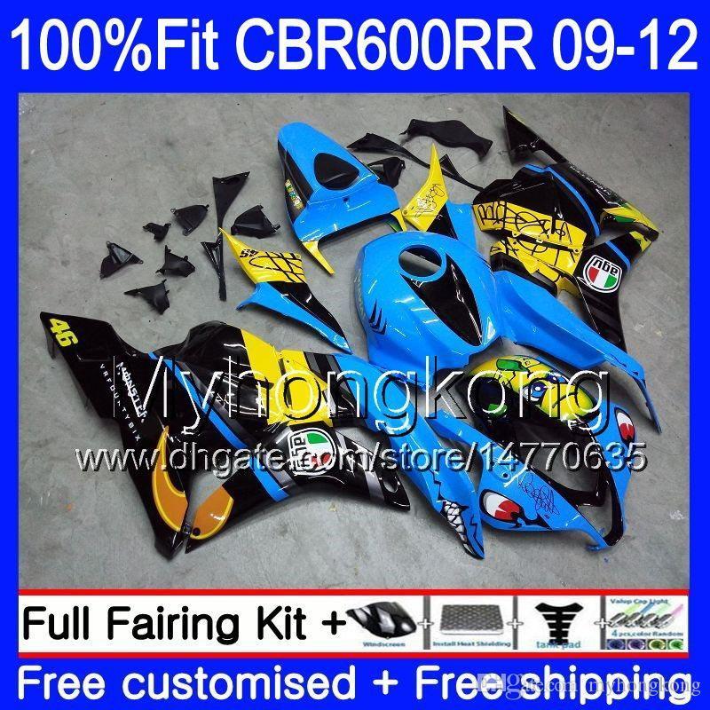 Injection For HONDA CBR 600RR 600F5 CBR600RR 09 10 11 12 282HM.0 CBR 600 RR F5 CBR600 RR 2009 2010 2011 2012 Fairings kit Shark fish blue