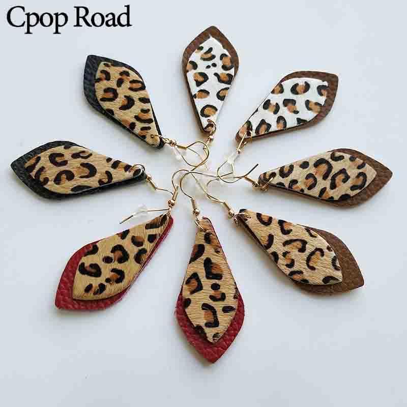 Echte Leder-Feder-Ohrringe für Frauen Cut doppelter Schichten Teardrop Leopard Echter Leder-Qualitäts-weibliche Schmucksache Winter New-Art-Geschenk
