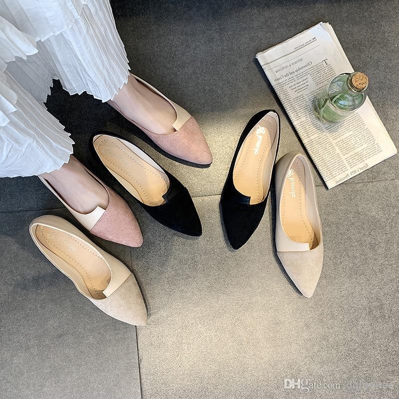 Новые ботинки женщина лета новые моды для женщин сращивания Цвет Квартиры Мода острым носом Балерина Балет Плоский Продеть Повседневная обувь