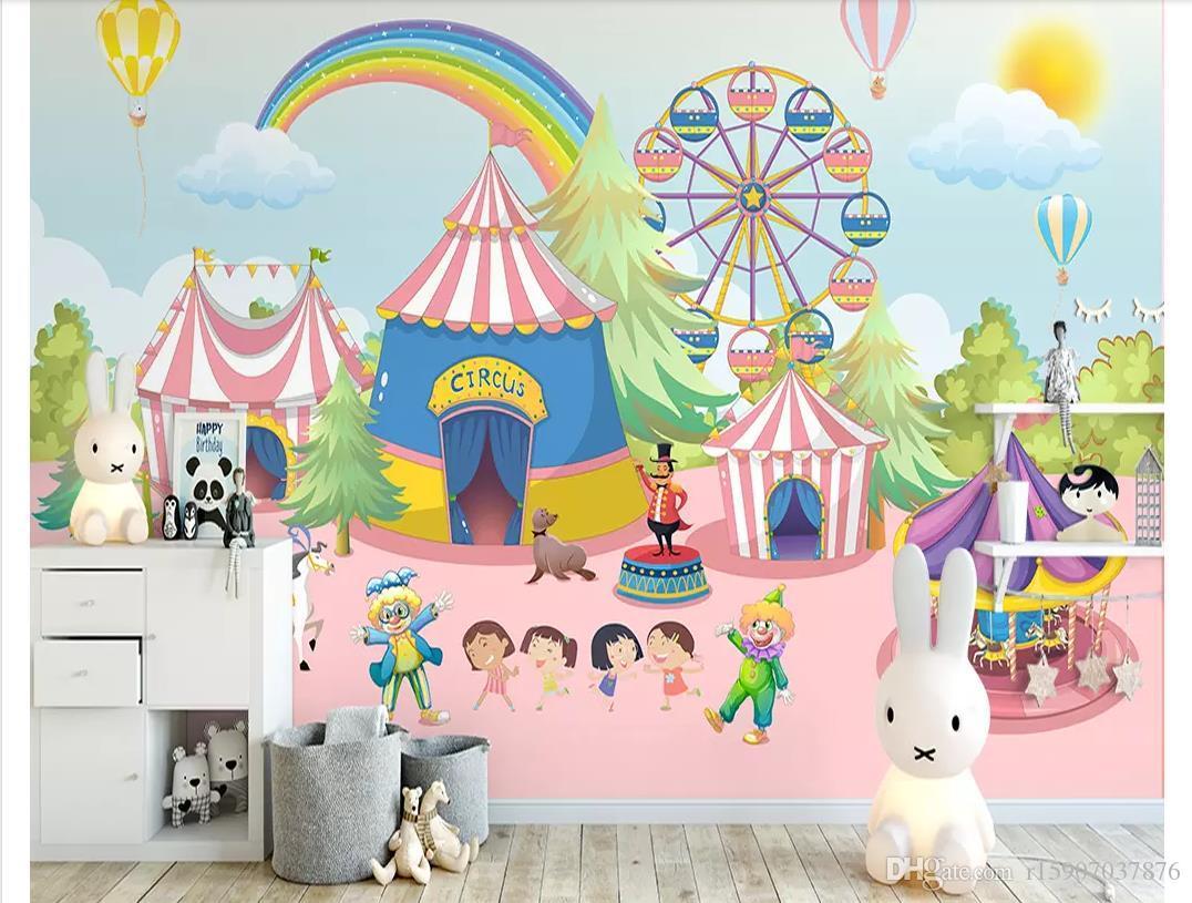 Personalizado 3D foto De Seda papel de parede mural Pintados à mão nórdico parque infantil playground decoração do quarto das crianças fundo mural