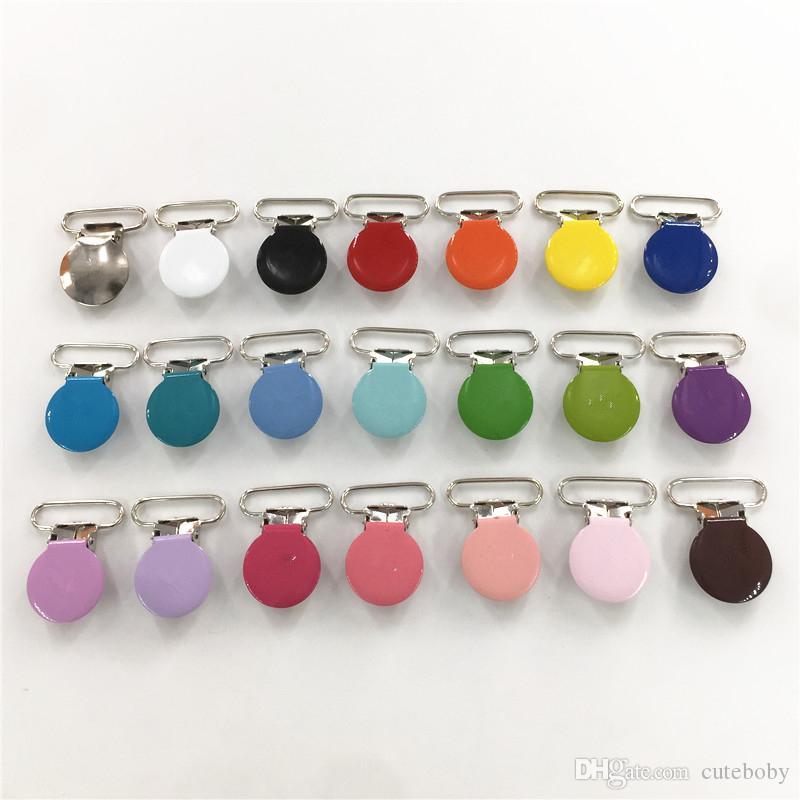 Chenkai 1 '' 25mm Yuvarlak Metal Askılar Emzikler Tutucu Klipler DIY Bebek Kukla emziği Zincir Klipler Oyuncak Ücretsiz 21 Renkler Kurşun
