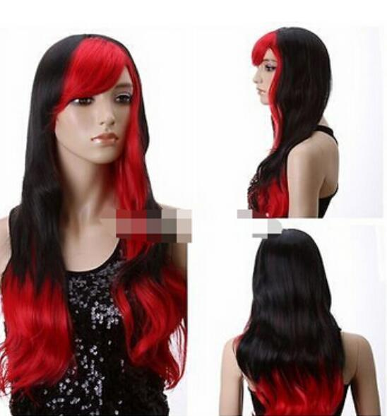 FREE SHIPPING + Black Red Synthetic Hair Stylish Bloodcurdling Vampire Cosplay Costume Wig