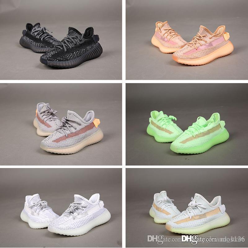 Alta qualidade das crianças dos miúdos das meninas dos meninos Trainers Kanye sapatos pretos argila brilho estático Reflective Hyperspace TRFRM Crianças Designer Sneakers 24-35