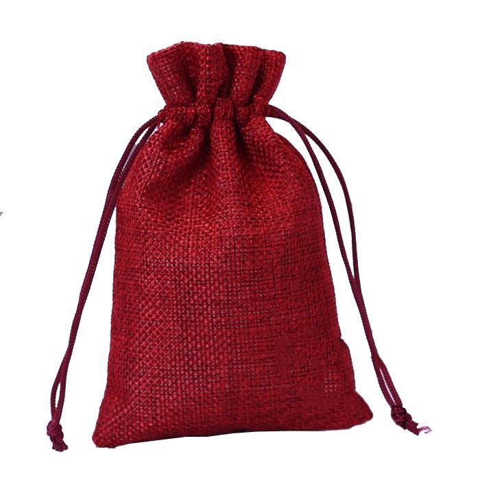 """Commercio all'ingrosso 5 colori Borse di tela con coulisse Regalo sacchi di iuta incluso fodera in cotone dimensioni 3.5 """"X4.7"""" (9x12 cm) spedizione gratuita"""