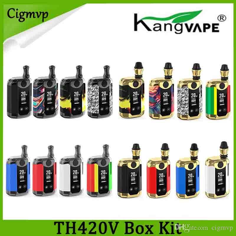 100% Original Kangviape Th-420 V Box Kit 800mAh PREHAT BATERIA 0.5ML Tanque de Cartucho de Cerâmica de Óleo Espesso Th420 Mod Authentic