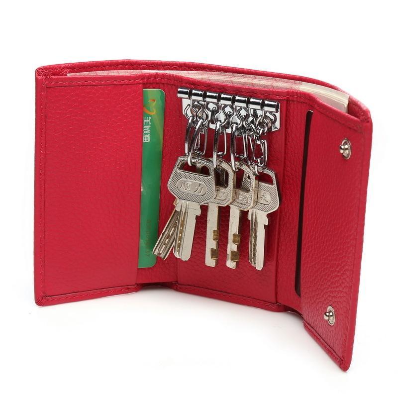 محفظة من الجلد الحقيقي مفتاح حزمة أكثر وظيفة سيدة مفتاح صندوق قصير حزمة ثلاثة الخصم بطاقة الوظيفة تغيير حزمة الصغيرة