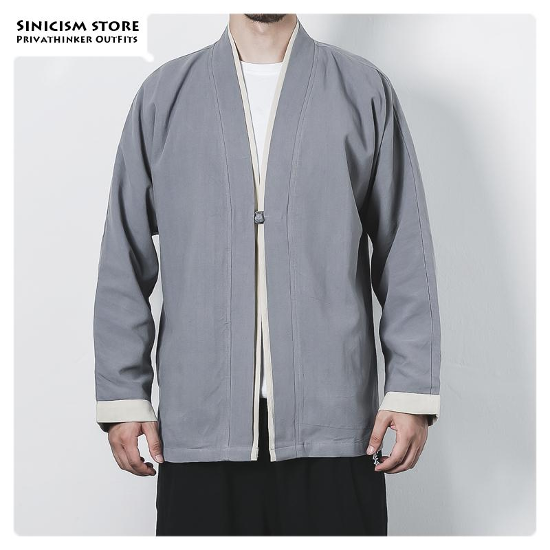 Sinicism Store Men Open Stitch Oversize Vintage Jackets Mens Chinese Style Solid Fashion Coat Clothes Male 2019 Autumn Jackets