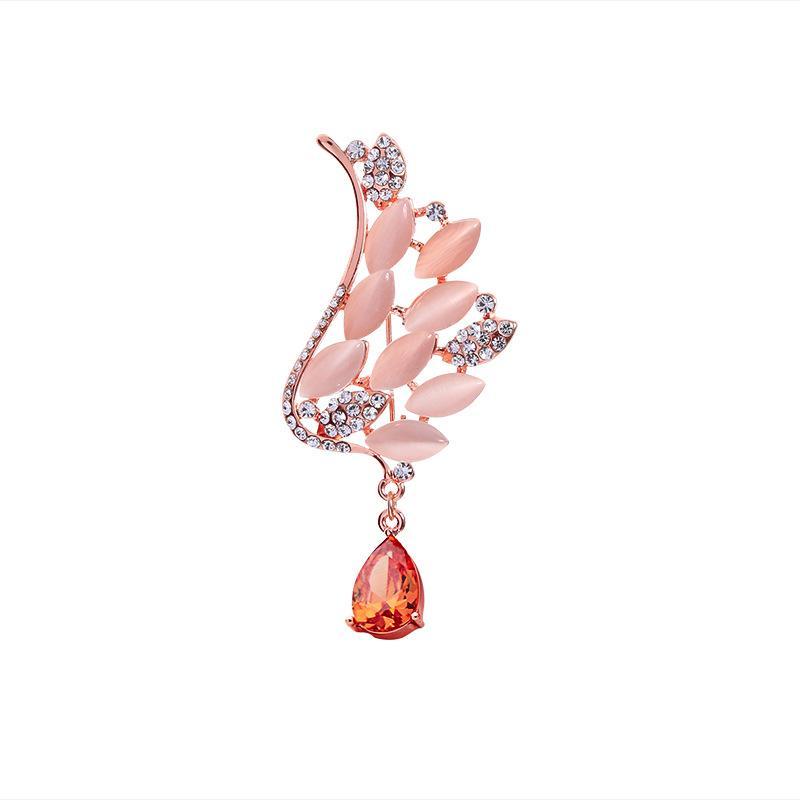 Spilla con pendente a goccia in diamante di cristallo opale di alta qualità, elegante petto femminile in stile europeo e americano