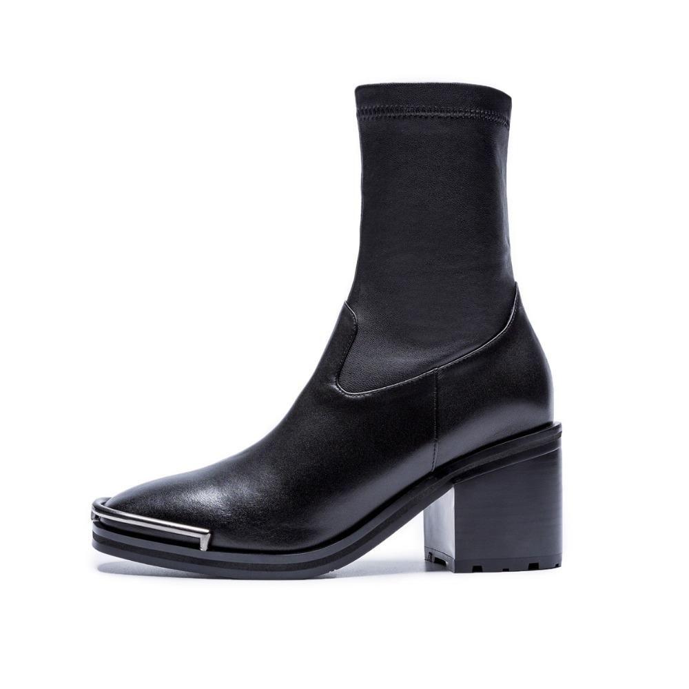 Sale-Krazing Hot Pot espessura de salto alto moda botas estilo manter aquecido zíper rodada toe de metal botas decoração metade da panturrilha