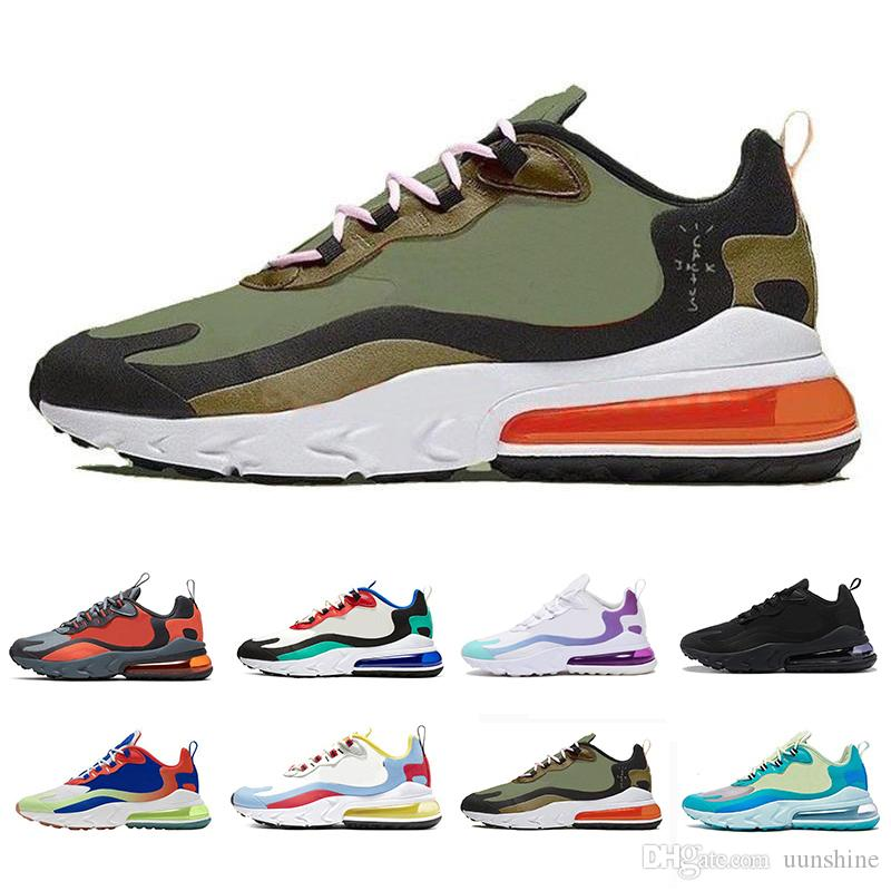 Nike air max 270 react shoes Travis Scott hombres  las mujeres que dirigen los zapatos para hombre de color violeta brillante entrenador deportivo zapatillas de deporte 36-45 AIRE