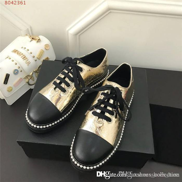 Le donne in vernice scarpe basse, Ultime signora alla moda quel bordo intarsi di perle scarpa deve cadere e l'inverno necessario mocassino numero di scarpe 35-40